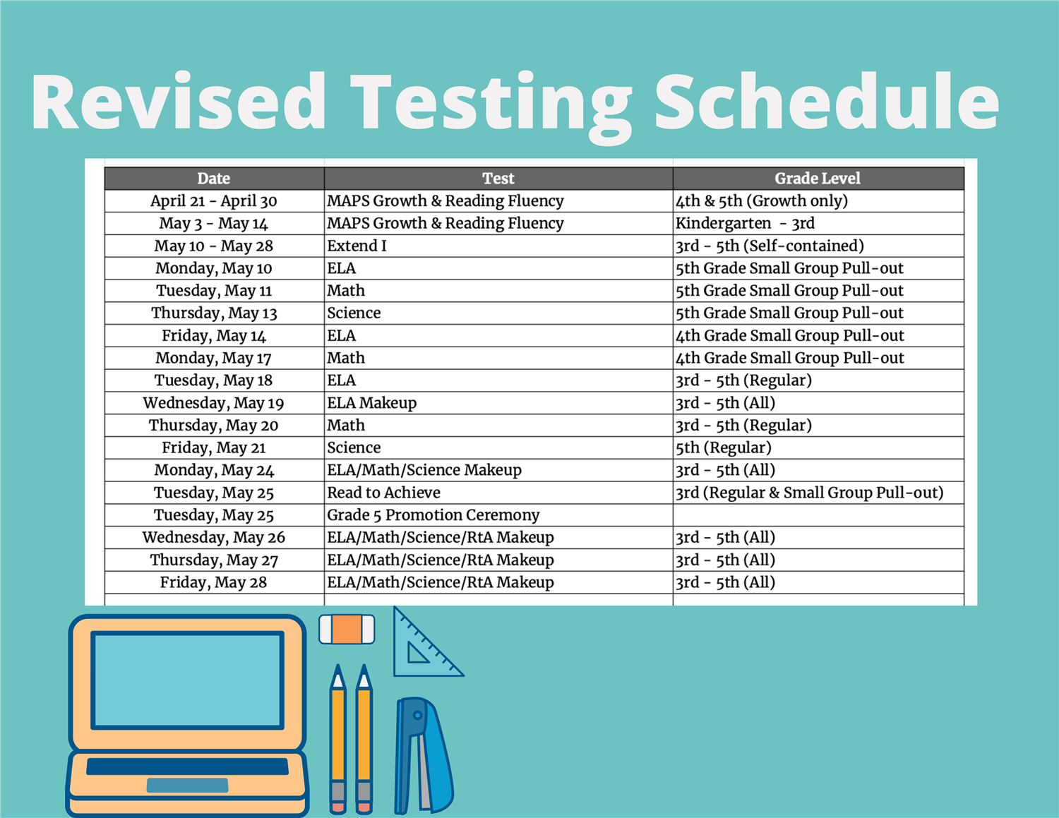 End of Year Testing Schedule
