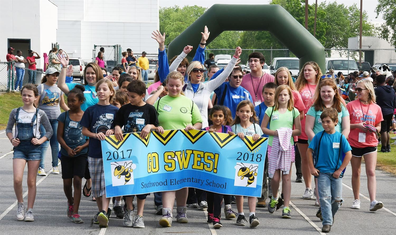 Southwood team parades during open ceremony of Special Olympics