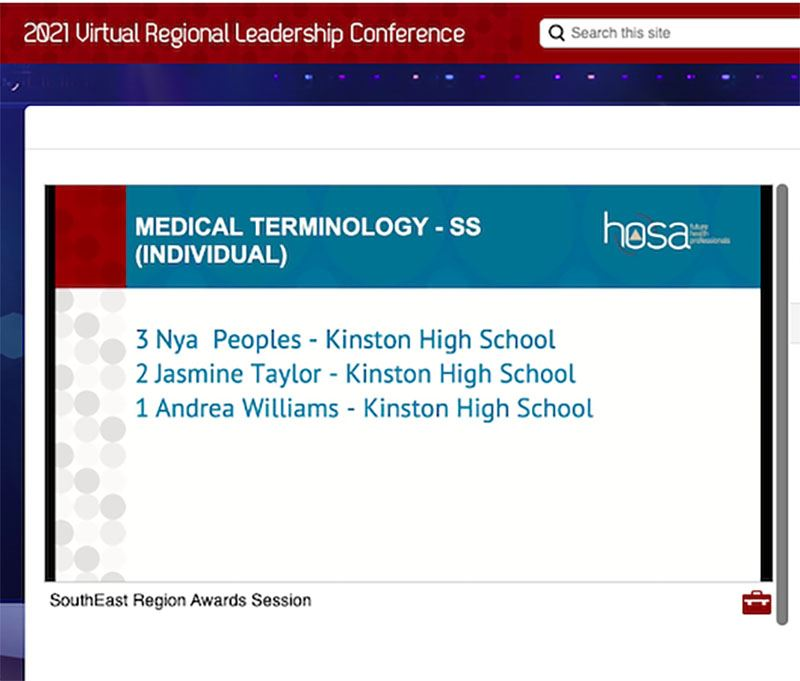Screen shot showing names of Kinston High winners in HOSA regional event.