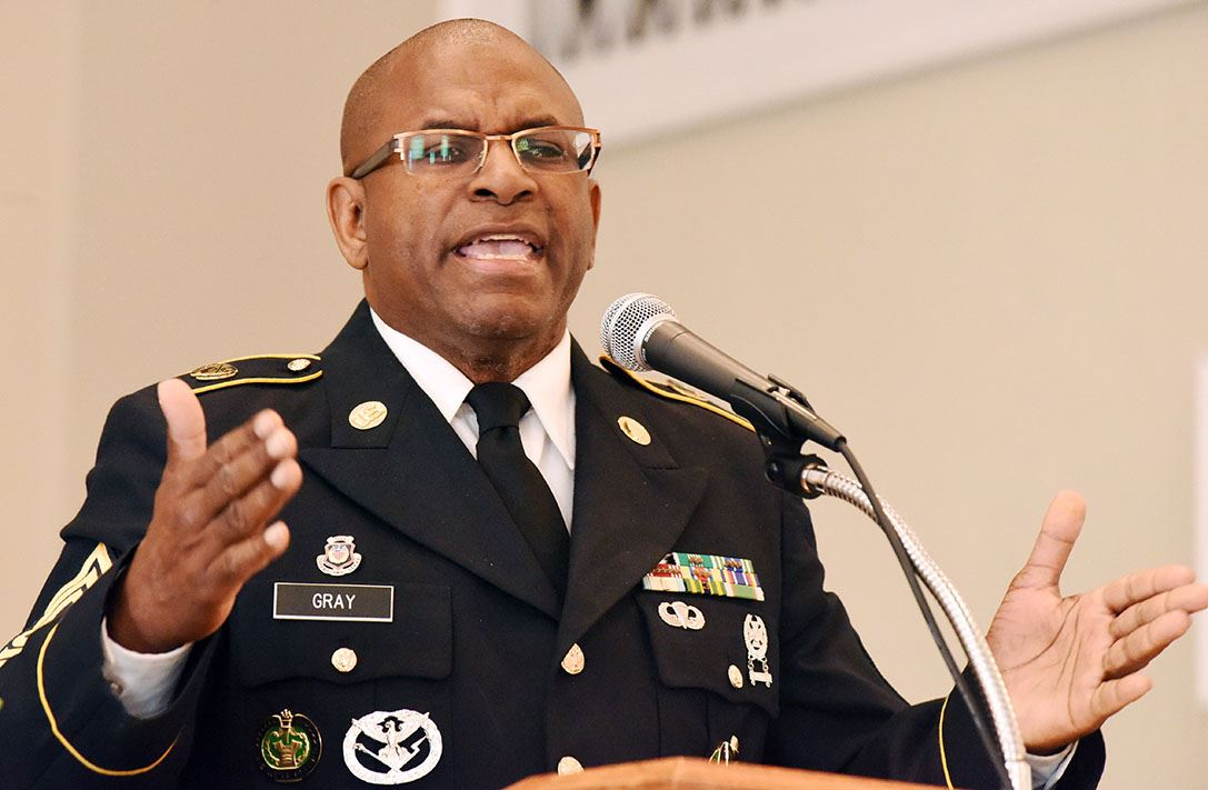 Master Sgt. Herbert P. Gray delivers commencement address at Lenoir County Learning Academy.