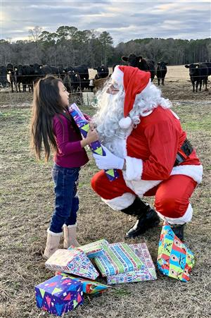 A Migrant Education Program recruiter dressed as Santa gives an young Hispanic girl presents in an outdoor scene with cows.