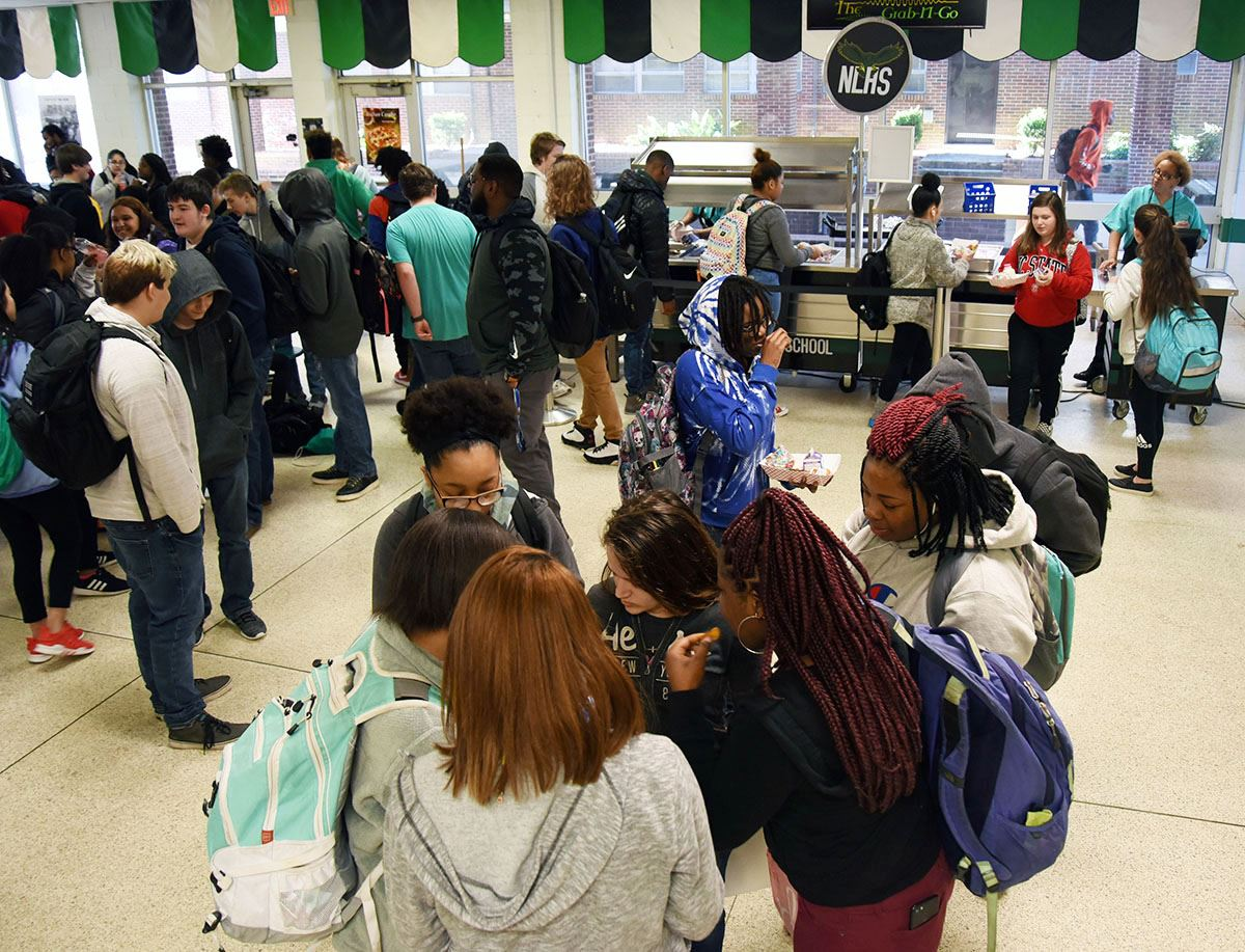 North Lenoir High students queue up at a kiosk during second breakfast period