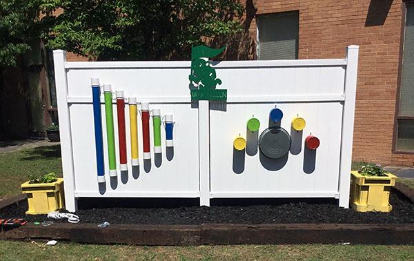 Music Wall in Southeast Elementary's new sensory garden