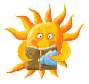 Graphic of sun character reading a book