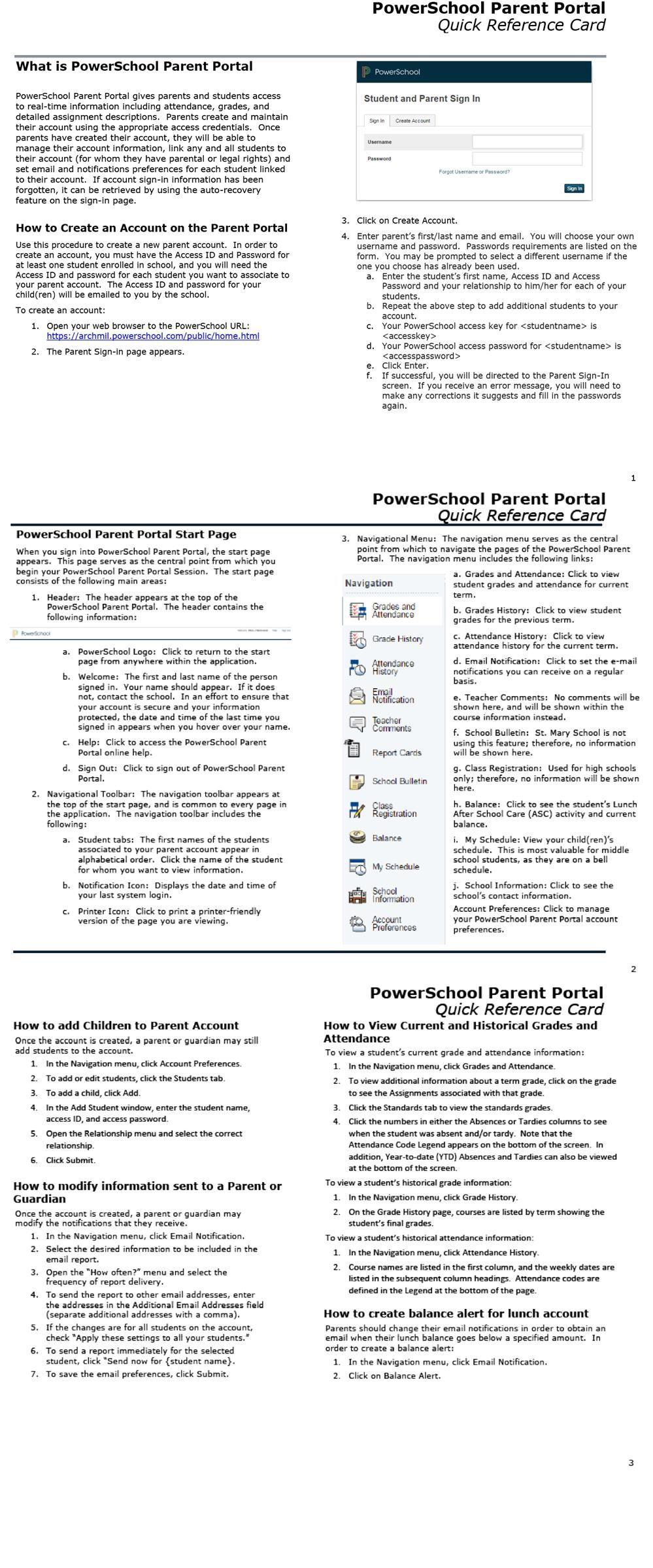 PowerSchool Parent Portal Guide / Overview