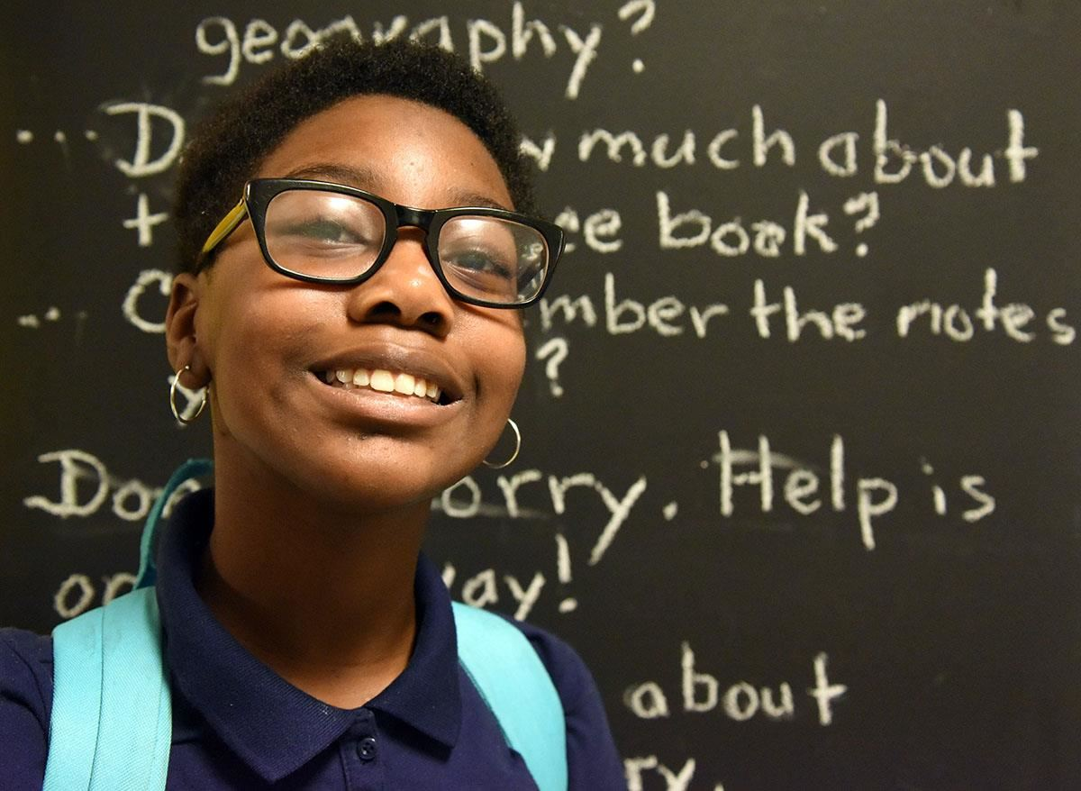 Rochelle student smiles at camera